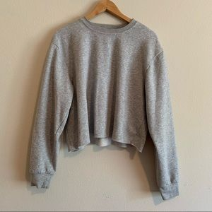 Minimalist Gray Crop Top Sweatshirt Size Medium